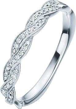 silberener Ring mit Brillanten auf weiß