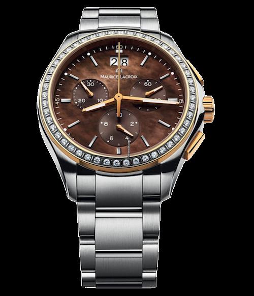 Uhr mit braunem Zifferblatt