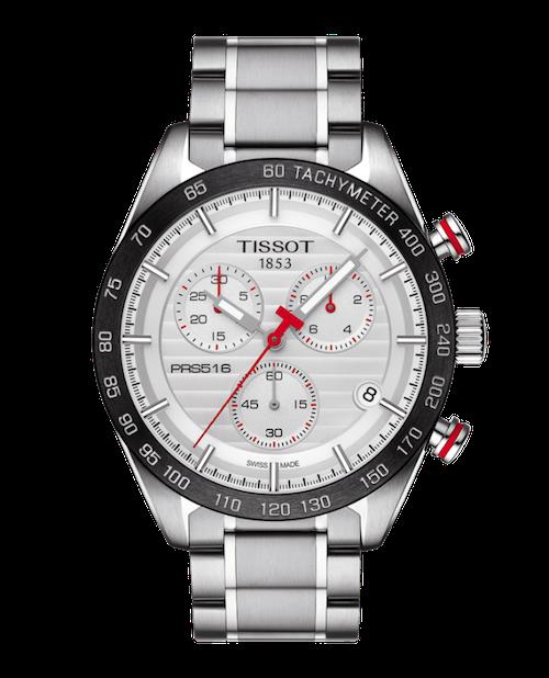 Tissot Uhr in silber mit roten Zeigern