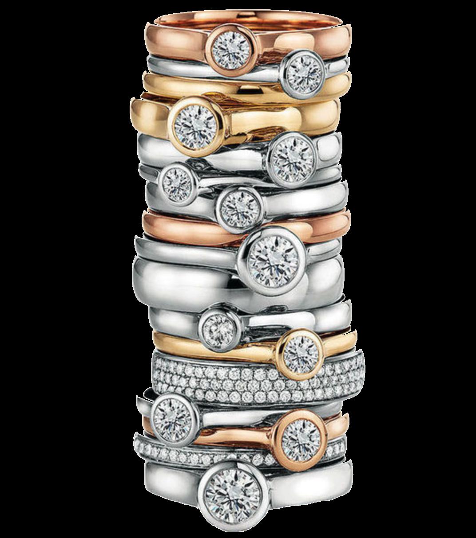 Gestapelte Ringe mit Brillianten