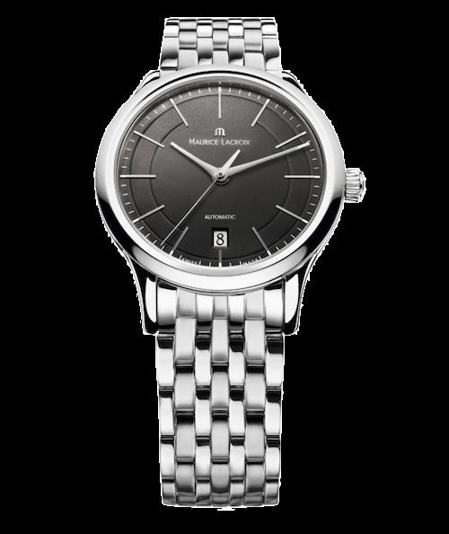 Metallband, Uhr mit schwarzen Blatt